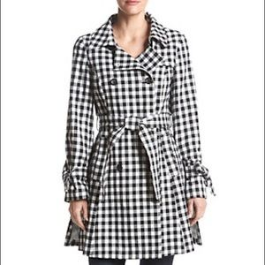 French Connection Gingham Trench Coat, Size XS